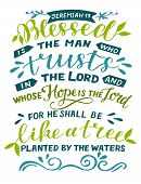 Hand Lettering Blessed The Man Who Trusts In Lord. poster