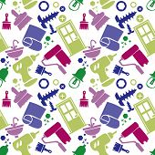 Seamless Pattern With Tools, Carpentry Tools, Repair Tools, Construction. Colored Icons, White Backg poster