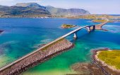 Norwegian Scenic Landscape On Lofoten Archipelago. Road And Bridge Connecting The Islands Over The S poster