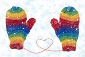 Rainbow Colored Gloves With A Red Heart While Snowing In Winter. Rainbow Family. poster