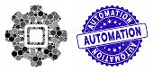 Collage Automation Icon And Rubber Stamp Seal With Automation Caption. Mosaic Vector Is Composed Wit poster