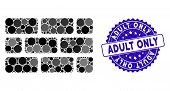 Mosaic Brick Wall Icon And Grunge Stamp Seal With Adult Only Phrase. Mosaic Vector Is Composed From  poster