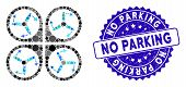 Mosaic Copter Screws Rotation Icon And Rubber Stamp Watermark With No Parking Phrase. Mosaic Vector  poster