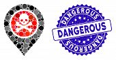 Mosaic Dangerous Zone Pointer Icon And Corroded Stamp Seal With Dangerous Text. Mosaic Vector Is Des poster
