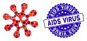 Mosaic Virus Icon And Distressed Stamp Seal With Aids Virus Phrase. Mosaic Vector Is Designed With V poster