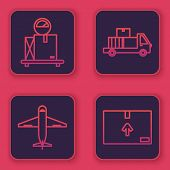 Set Line Scale With Cardboard Box , Plane , Delivery Truck With Cardboard Boxes And Cardboard Box Wi poster