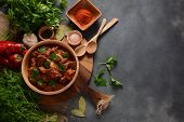 Goulash Traditional Hungarian Beef Meat Stew Or Soup With Vegetables And Tomato Sauce, Comfort Winte poster
