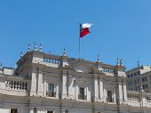 View Of The Presidential Palace, Known As La Moneda, In Santiago, Chile. This Palace Was Bombed In T poster