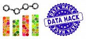 Mosaic Chart Trend Icon And Grunge Stamp Seal With Data Hack Caption. Mosaic Vector Is Composed With poster