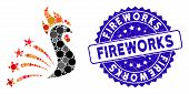 Mosaic Rooster Fireworks Icon And Grunge Stamp Seal With Fireworks Caption. Mosaic Vector Is Compose poster