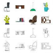 Vector Illustration Of Furniture And Work Sign. Set Of Furniture And Home Stock Symbol For Web. poster