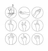 Set Of Signs Hands. Set Of Vector Hands. Hand Vector Icons Set. Sketching Of Hand Gestures. Illustra poster