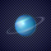 Uranus Planet With Rings On Transparent Background. Seventh Ice Giant Planet Of Solar System. Galaxy poster