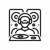 Black Line Icon For Dejaying People Disco Music Dj Adolescent Nightclub poster