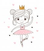 Cute Little Ballerina In Tutu And Pointe Shoes. The Princess Girl Is Dancing In A Pink Dress. A Beau poster