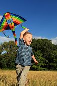 image of kites  - Happy little boy playing with bright kite at the outdoor - JPG