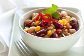 stock photo of soy bean  - Three bean and corn salad with chili - JPG