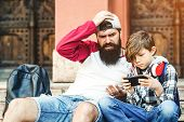 Son Having Internet Addiction. Father Watch How Son Plays Online Game. Technology And Addiction poster