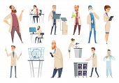 Science Persons. Characters Doctors Lab Technician Workers Biologists Or Pharmacists Vector People.  poster