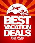 Постер, плакат: Лучший отдых сделок Реклама дизайн шаблона
