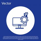 Blue Line Computer Monitor With Screwdriver And Wrench Icon Isolated On Blue Background. Adjusting,  poster