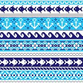 Scottish Fair Isle Style Traditional Knitwear Vector Seamless Pattern, Marine Style Design With Anch poster
