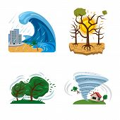 Vector Illustration Of Natural And Disaster Symbol. Set Of Natural And Risk Vector Icon For Stock. poster