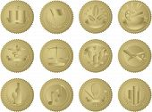 stock photo of garden snake  - This is a set of 12 unique gold document seals - JPG
