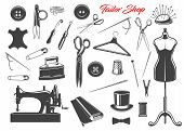 Tailor Shop And Sewing Tool Icons. Thread, Needles And Scissors, Sewing Machine, Spool And Button, T poster