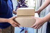 Young Delivery Man Deliver Box Parcel Package And Sending To Customer In Front Of The House And Man  poster