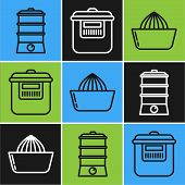Set Line Double Boiler , Citrus Fruit Juicer And Slow Cooker Icon. Vector poster