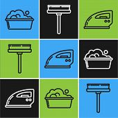 Set Line Plastic Basin With Soap Suds , Electric Iron And Squeegee, Scraper, Wiper Icon. Vector poster