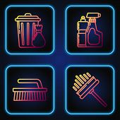 Set Line Squeegee, Scraper, Wiper, Brush For Cleaning , Trash Can And Garbage Bag And Plastic Bottle poster