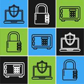 Set Line Laptop Protected With Shield, Safe And Safe Combination Lock Icon. Vector poster