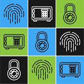 Set Line Fingerprint , Safe Combination Lock Wheel And Safe Icon. Vector poster