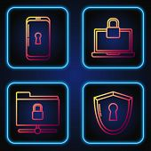 Set Line Shield With Keyhole , Ftp Folder And Lock , Smartphone With Lock And Laptop And Lock . Grad poster