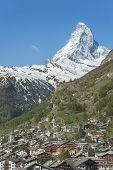 Idyllic Landscape Of Mountain Matterhorn And Zermatt, Swiss poster