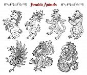 Design Set With Collection Of Heraldic Beasts And Animals Like Unicorn, Dragon, Lion Isolated On Whi poster