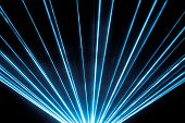 Blue Laser Show Nightlife Club Stage And Shining Sparkling Rays. Luxury Entertainment In Nightclub E poster
