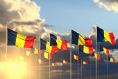 Pretty Many Romania Flags On Sunset Placed In Row With Soft Focus And Place For Your Content - Any F poster