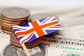 England Flag With Coins On Dollar Banknotes Background :  Banking Account, Investment Analytic Resea poster