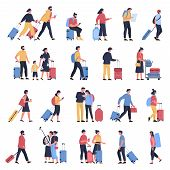 Travelers At Airport. Business Tourists, People Waiting At Airports Terminal With Luggage, Character poster