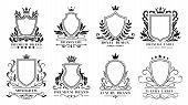 Royal Shields Badges. Vintage Ornamental Frames, Decorative Royal Swirl Heraldic Borders And Luxury  poster