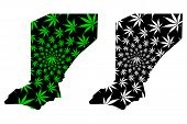 Diffa Region (regions Of Niger, Republic Of The Niger) Map Is Designed Cannabis Leaf Green And Black poster