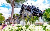 Vihara Of Liang Pu Mun In Chiang Mai City, Thailand. Old Ancient Religion Building, Spiritual Place. poster