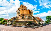 Wat Chedi Luang Temple, Chiang Mai City, Thailand. View Of Big Ancient Ruin Of Breathtaking Temple P poster
