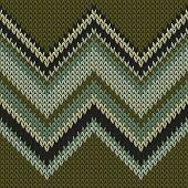 Yarn Zig Zal Lines Knit Texture Geometric Seamless Pattern. Pullover Knitwear Fabric Print. Traditio poster