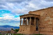 Close-up View Of Ancient Ruins Of The Erechtheion Or Erechtheum. It Is An Ancient Greek Temple On Th poster