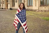 Wrapped In The Flag. Sexy Girl Wearing American Flag On Independence Day. Patriotic Woman Celebratin poster