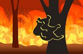 Koala With Joey Silhouettes Sitting On Tree Forest Fires In Australia Animals Dying In Wildfire Bush poster